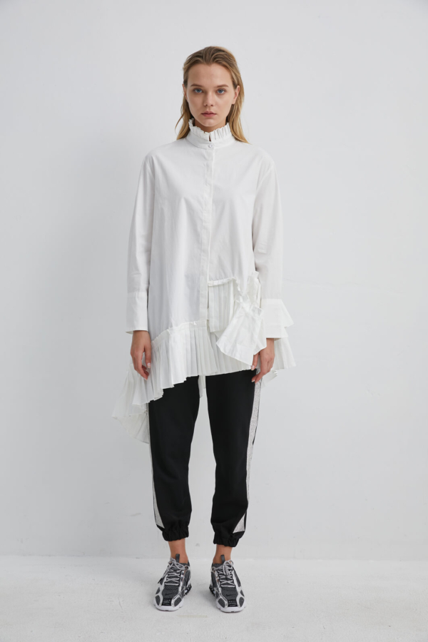 White Cotton Shirt with A-line Pleated Hem | SHWH0010