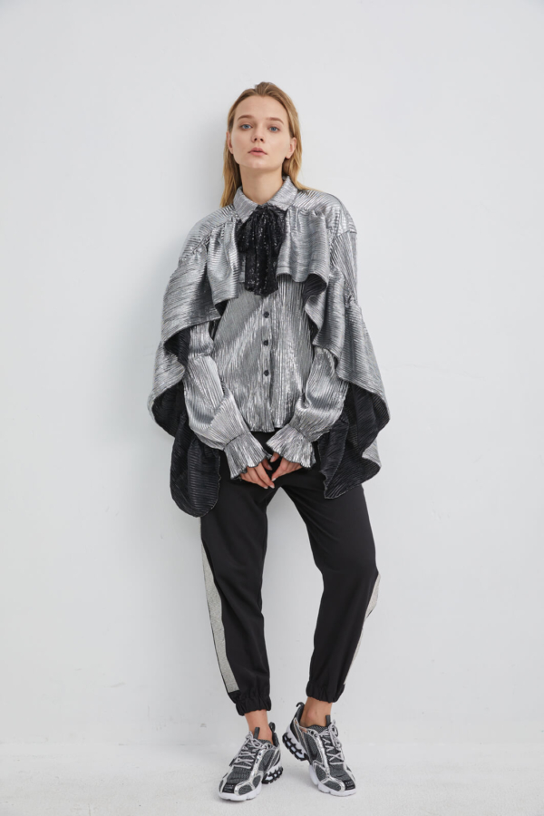 Metallic Silver Print Shirt with Bow Neck and Draped Cape | TPSV0052 - Silver