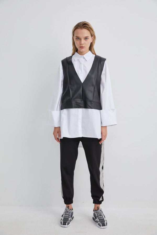 White Cotton Shirt Layered with Black Leather Waistcoat | SHWH0053