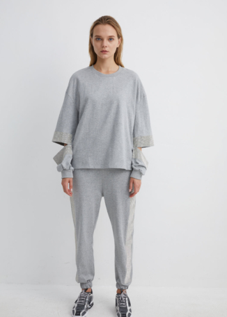Grey Sweatshirt with Diamante Slit Arm | SWGR0024 - Grey