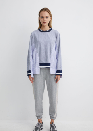 Cotton Sweatshirt with Pinstripe Side Panels | SWGR0013