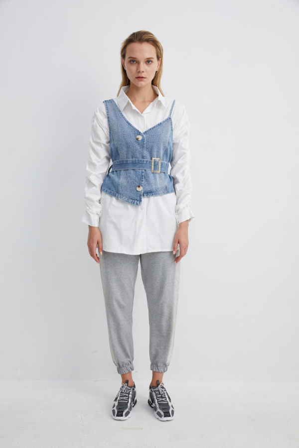 Ruched Long Sleeve Shirt layered with Sleeveless Belted Waistcoat | SHWH0043