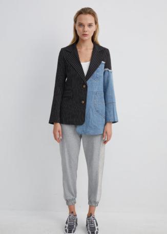 Half Denim, Half Pinstripe Asymmetrical Blazer | JKNA0041