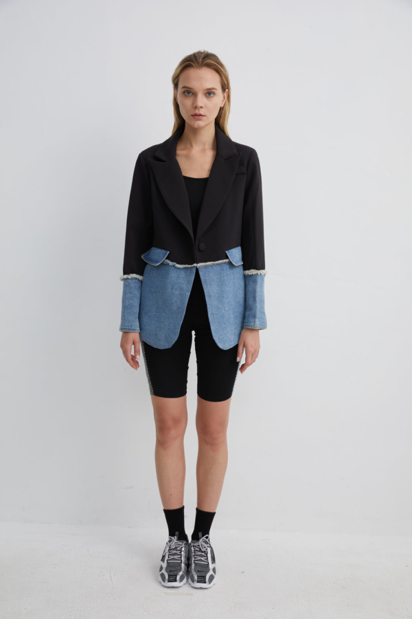 Black Blazer with Half Denim Block Detail | JKBK0006M/L