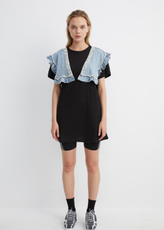 Black Jersey Dress with Denim Diamante Shoulder Pads | TPBK0034