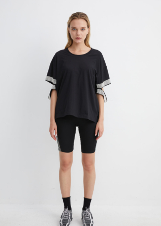 Black Cotton T-shirt with Diamante Detailing | TPBK008 - Black