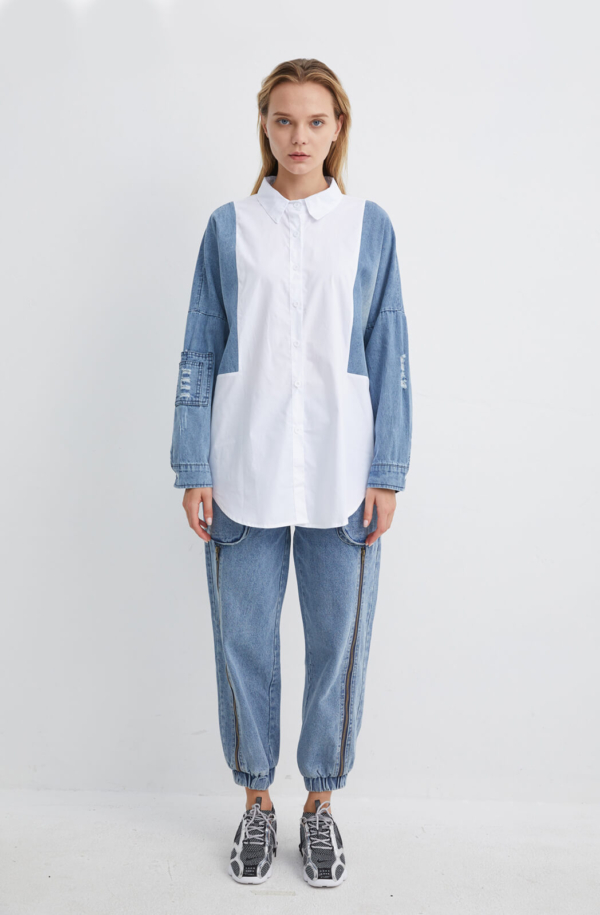 Oversized White Cotton Shirt with Denim Sleeves | SHWH0003