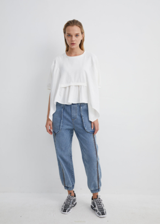 White Pleated Top with Draped Layers and Belted Back | TPWH0038