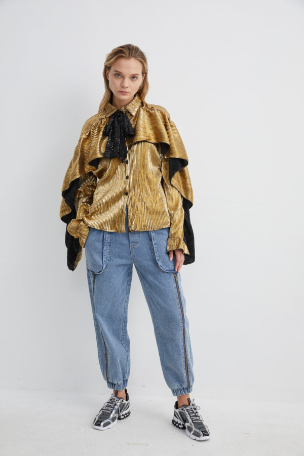 Metallic Gold Print Shirt with Bow Neck and Draped Cape | TPGD0050 - Gold
