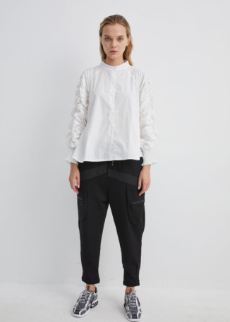 White Round Neck Collared Shirt with Ruched Sleeves and Draped Back | SHWH0046 - White