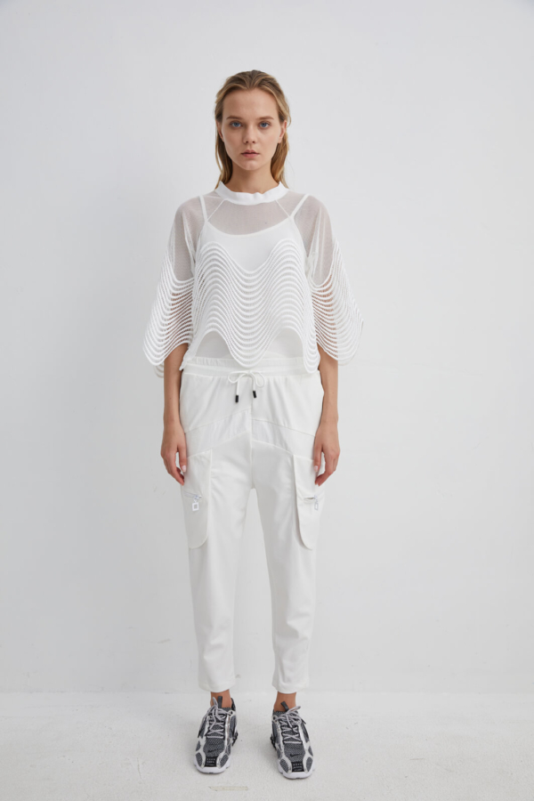 Cuffed White Track Pants with Front Zip Pockets and Drawstring Waist | TRWH0055M - White