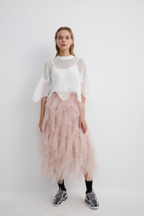 Pink Ballerina Mesh Layered Skirt | SKPK0017 - Pink