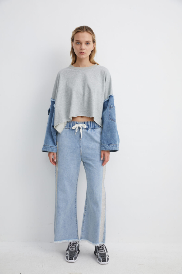 Wide Leg Denim Trousers with Embellished Side Panels | TRDM0013M/L