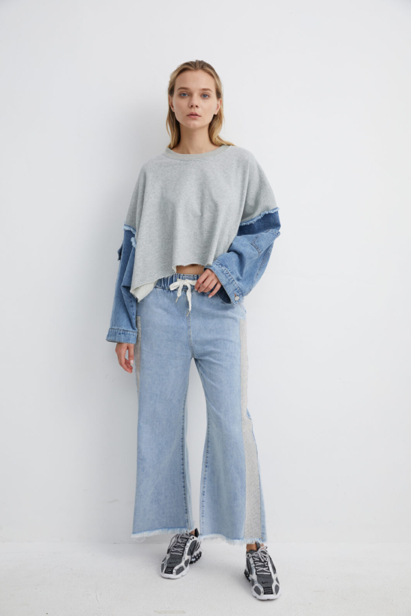 Oversized Grey Sweater with Denim Sleeves | SWGR0037