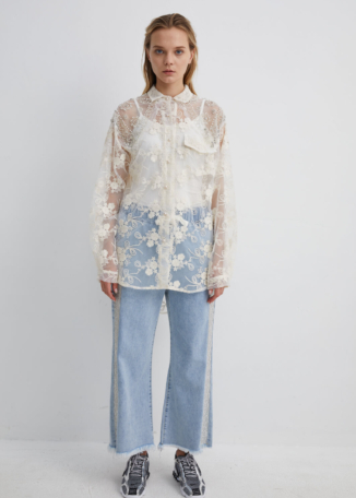 Oversized Lace Shirt with Diamante Embellishments | SHWH0040