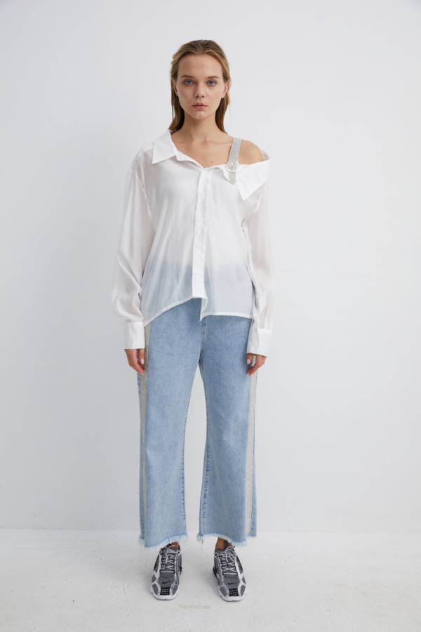 White Shirt with Diamante Shoulder Strap | SHWH0020