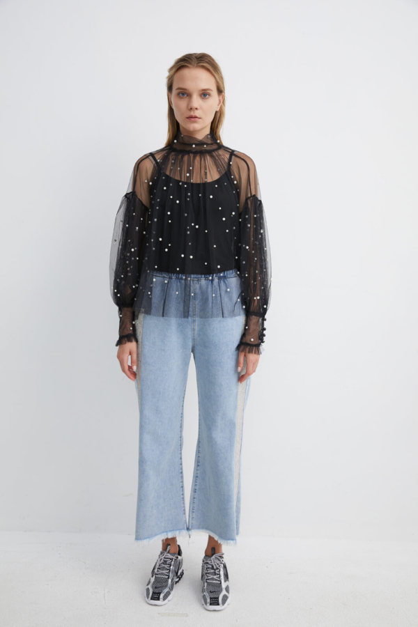 Black Mesh Blouse with Pearl Embellishments | TPBK0001 - Black