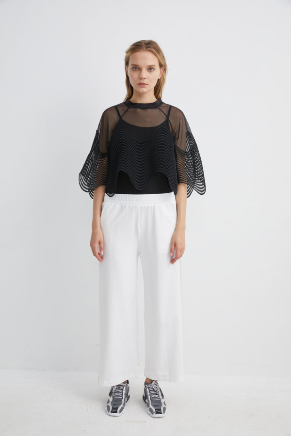 White Wide Leg Jersey Trousers with Diamante Side Panel | TRWH0056