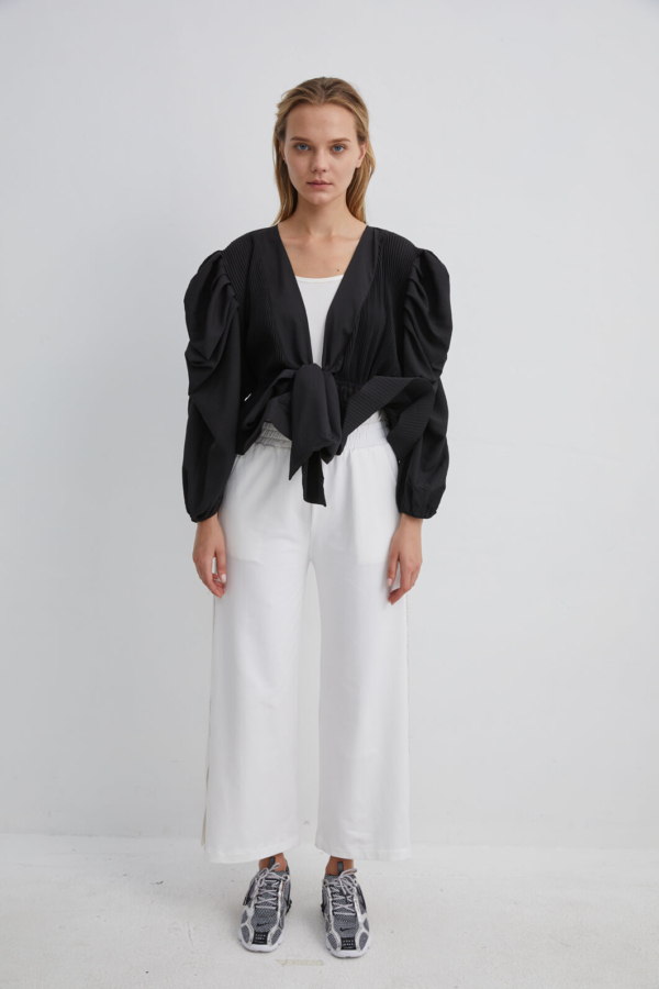 Black Pleated Blouse with Ruched, Puff Sleeves and Bow Belt | JKBK0058 - Black