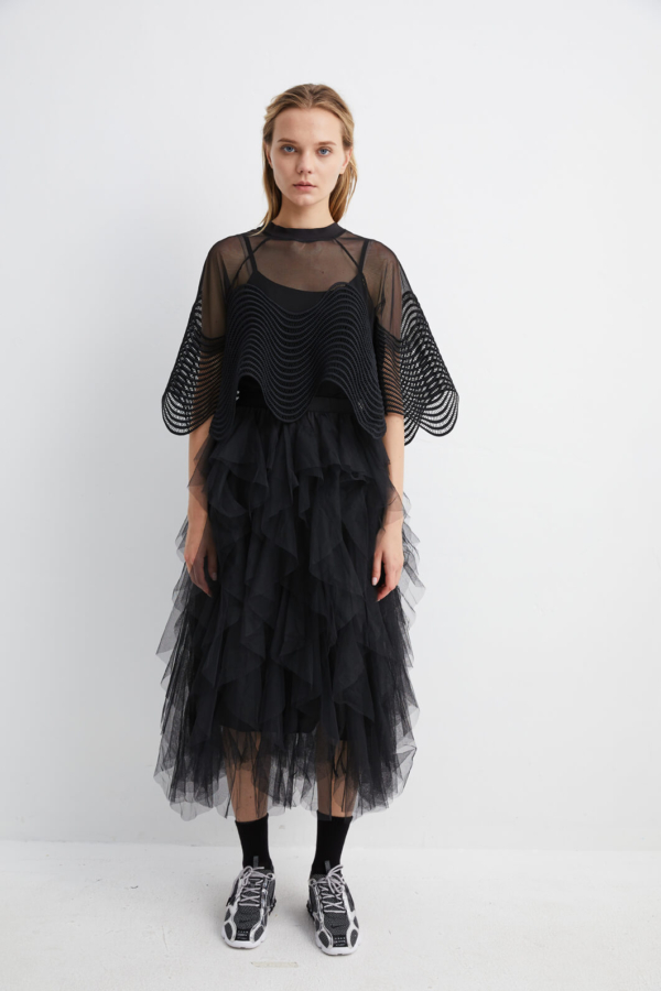Black Ballerina Mesh Layered Skirt | SKBK0016 - Black