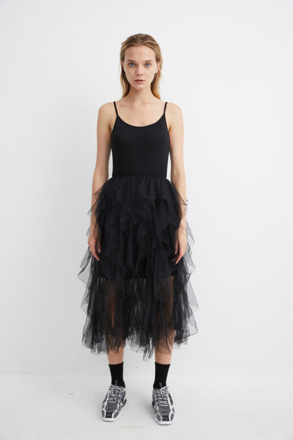 Black Layered Ruffle Dress | DRBK0009