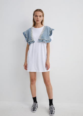 White Jersey Dress with Denim Diamante Shoulder Pads | TPWH0035