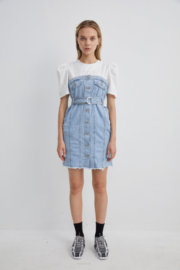Denim Dress layered with Black Jersey T-shirt | DRDM0031