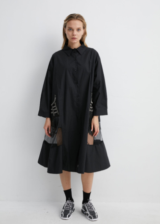 Black Oversized Shirt Dress with Embellished Fringed Pockets | DRBK0019