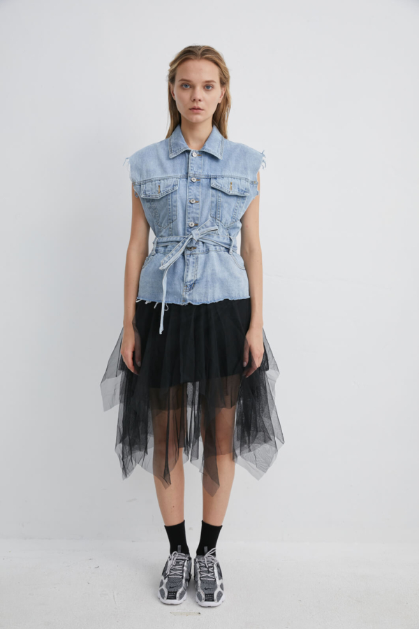 Denim Dress with Tie-Waist Belt and Mesh Tulle Tutu | DRDM0032
