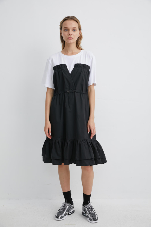 Black Cotton Frill Dress layered with White T-shirt | DRBK0059