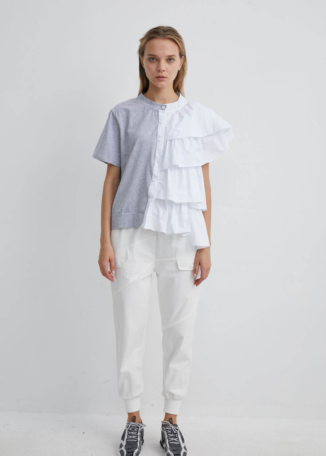 High Waisted White Track Pants with Stripe Panel and Front Pockets | TRWH0045 - White