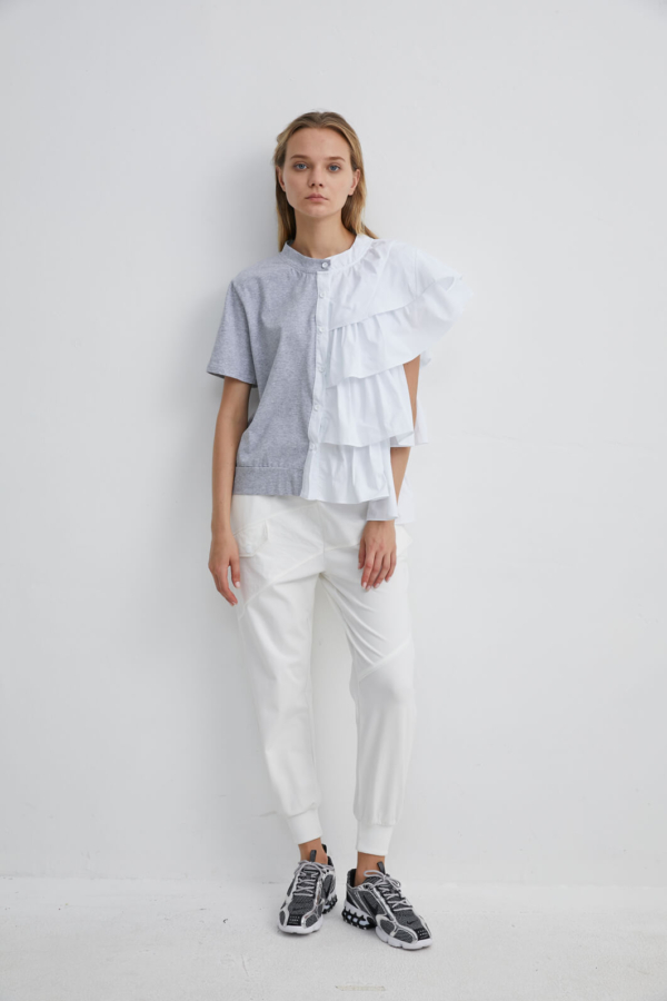 Half Panel White Frill Blouse Jersey T-shirt | TPGR0039
