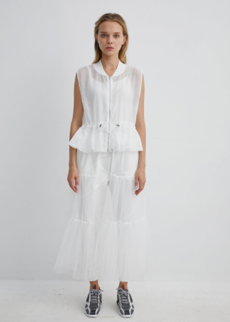 Sheer Mesh White Jacket with Belt and Zip Detailing | JKWH0028 - White