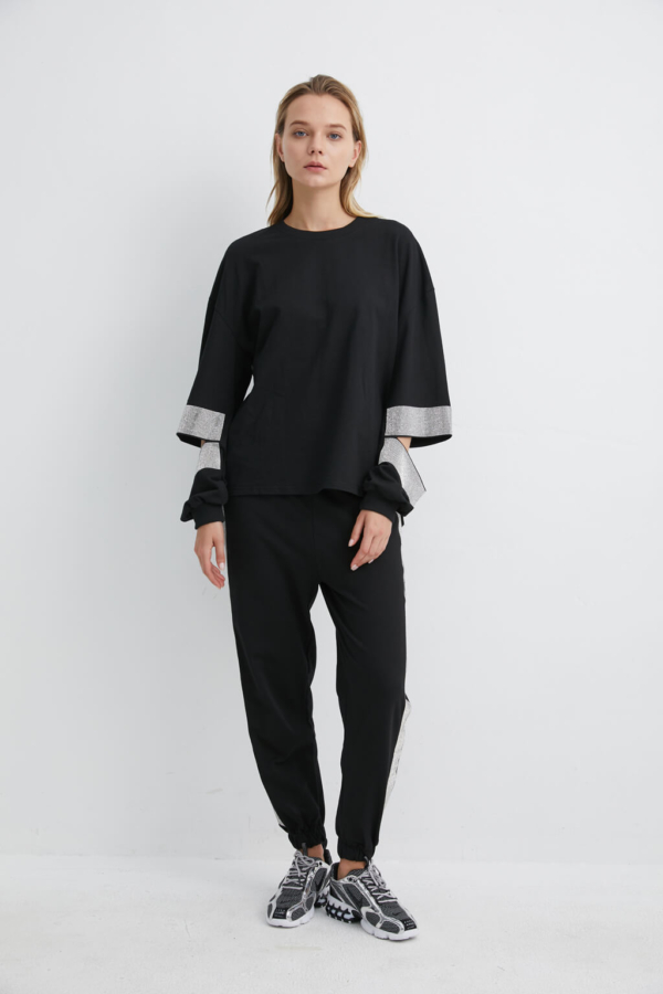 Black Sweatshirt with Diamante Slit Arm | SWBK0023 - Black