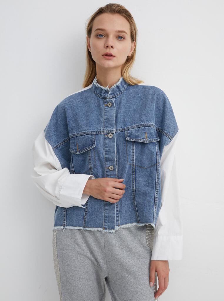 Cropped Denim Jacket with White Cotton Back | JKDM0018