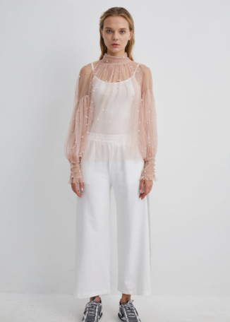Pink Mesh Blouse with Pearl Embellishments | TPBK0002 - Pink