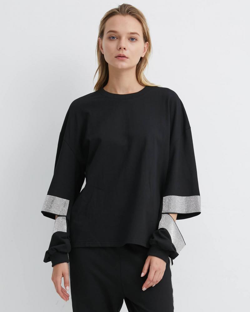 Black Sweatshirt with Diamante Slit Arm | SWBK0023 - Black